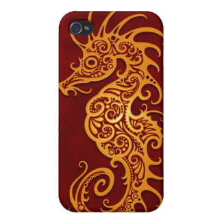 Golden Red Tribal Seahorse iPhone 4/4S Covers