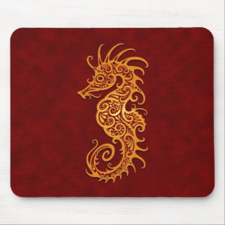 Golden Red Tribal Seahorse Mouse Pad