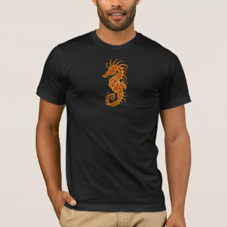 Golden Red Tribal Seahorse T-Shirt