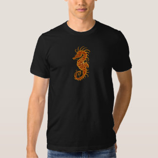 Golden Red Tribal Seahorse Tee Shirt