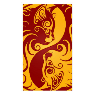 Golden Red Yin Yang Cats Business Cards