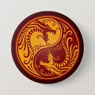 Golden Red Yin Yang Dragons Button