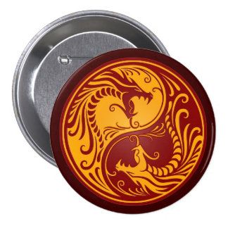 Golden Red Yin Yang Dragons Buttons