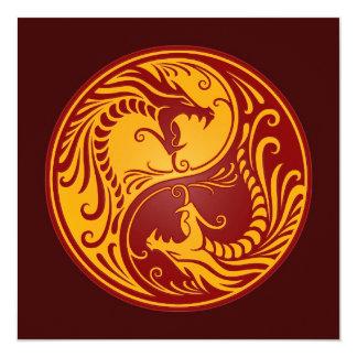 Golden Red Yin Yang Dragons Card