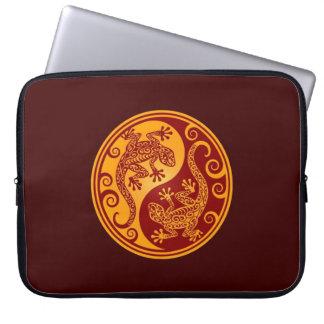 Golden Red Yin Yang Lizards Laptop Computer Sleeves