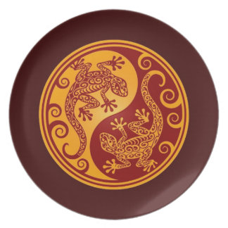 Golden Red Yin Yang Lizards Party Plates