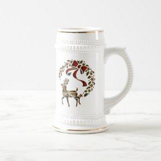 Golden Reindeer Christmas Beer Stein