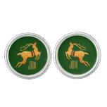 Golden Reindeer Christmas | Custom Green Cufflinks