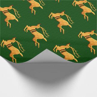 Golden Reindeer Christmas |Green Gift Wrap
