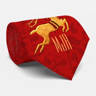 Golden Reindeer Holiday   Red Monogram Tie