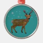 Golden Reindeer Snowfall Christmas Ornaments