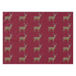 Golden Reindeer Table Cloth Tablecloth