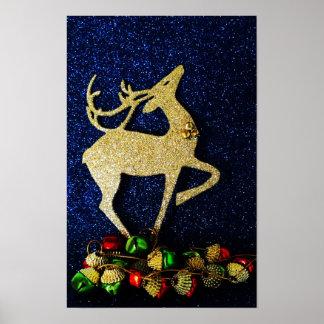 Golden Reindeer with Jingle Bells Poster