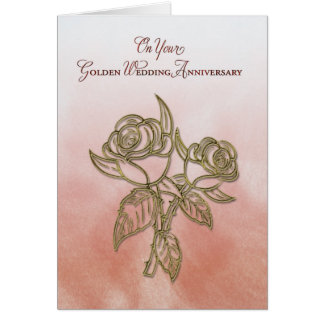 Golden Religious 50th Wedding Anniversary, Roses Card