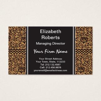 Golden Renaissance Tudor Gardens Damask Floral Business Card
