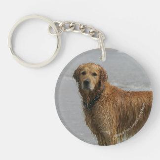Golden Retreiver in the Sea Keychain
