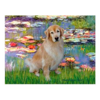 Golden Retriever #10 - Lilies #2 Postcard