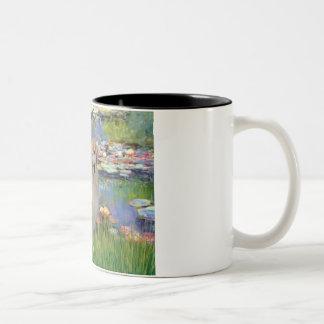 Golden Retriever #10 - Lilies #2 Two-Tone Coffee Mug