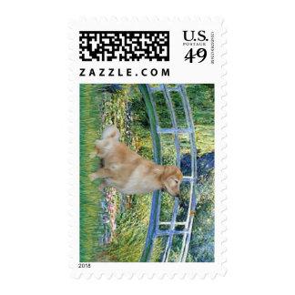 Golden Retriever 11 - Lily Pond Bridge Stamp