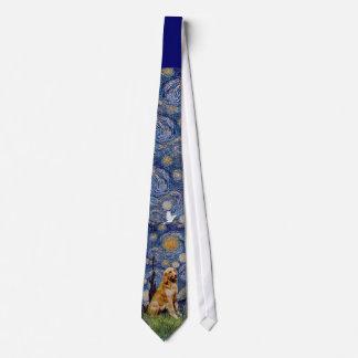 Golden retriever 1 de la noche estrellada corbata personalizada