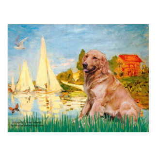 Golden Retriever 1 - Sailboats 2 Postcard