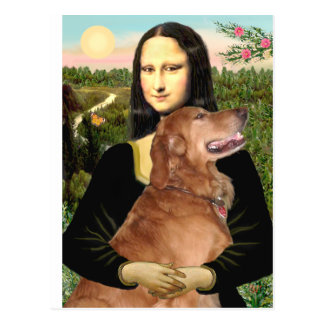 Golden Retriever 3 - Mona Lisa Postcard