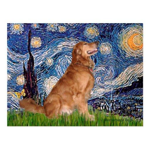 Golden Retriever 3 - Starry Night Post Cards