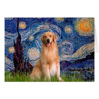 Golden Retriever 8 - Starry Night Card