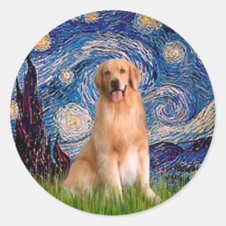 Golden Retriever 8 - Starry Night Classic Round Sticker