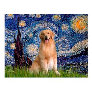 Golden Retriever 8 - Starry Night Postcard