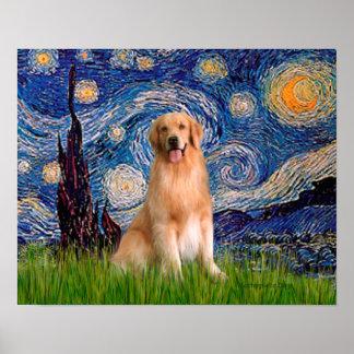 Golden Retriever 8 - Starry Night Poster