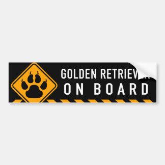 Golden retriever a bordo pegatina para auto