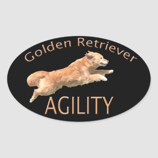 Golden Retriever Agility Decal Oval Sticker