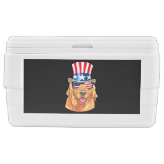 Golden Retriever America 4th of July USA Flag Chest Cooler