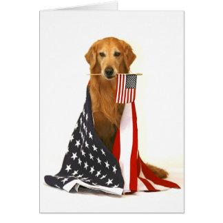 Golden Retriever and American Flag Card