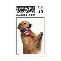 Golden Retriever and American Flag Postage