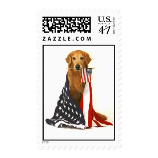 Golden Retriever and American Flag Postage Stamp