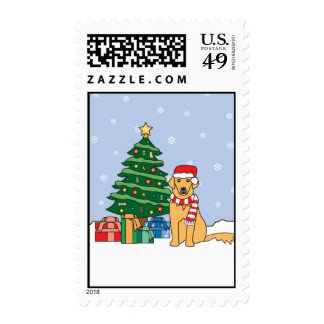 Golden Retriever and Christmas Tree Postage Stamp