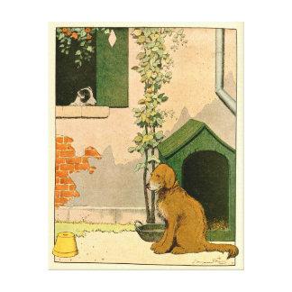 Golden Retriever and Dog House Gallery Wrap Canvas