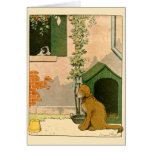 Golden Retriever and Dog House Greeting Card
