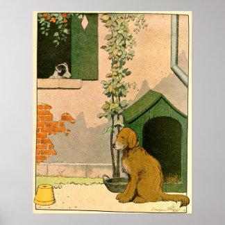 Golden Retriever and Dog House Poster