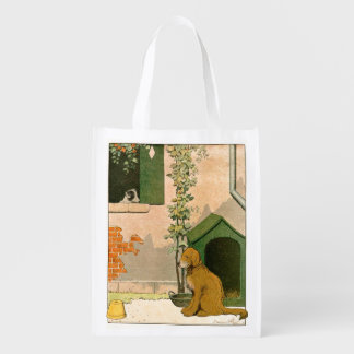 Golden Retriever and Dog House Reusable Grocery Bag