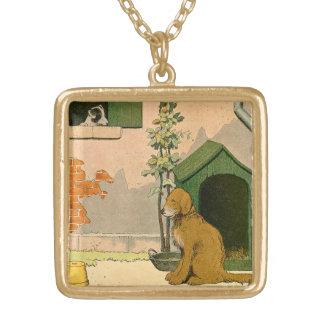 Golden Retriever and Jack Russel Terrier Square Pendant Necklace