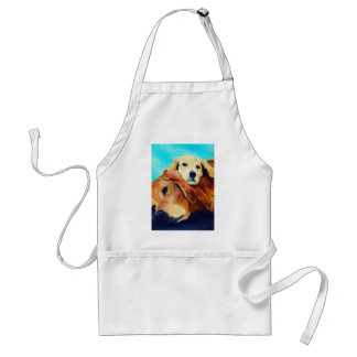 Golden Retriever and Puppy Adult Apron