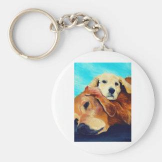 Golden Retriever and Puppy Keychain