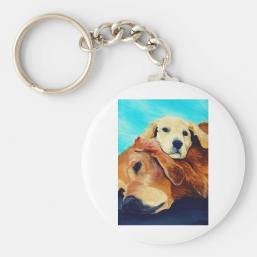 Golden Retriever and Puppy Key Chains