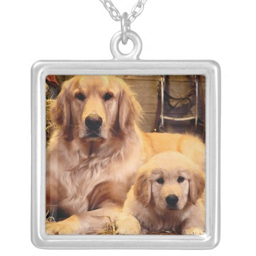 Golden Retriever and Puppy Necklace