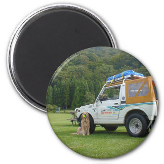 Golden retriever and travelling 2 inch round magnet