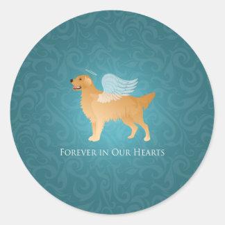 Golden Retriever Angel Dog - Pet Memorial Classic Round Sticker