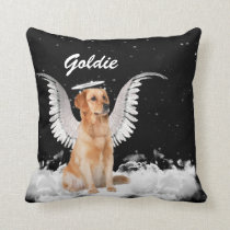 Golden Retriever Angel Dog with Name Throw Pillow